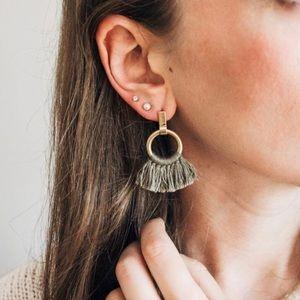 Madewell Army Green Tassel Gold Earrings